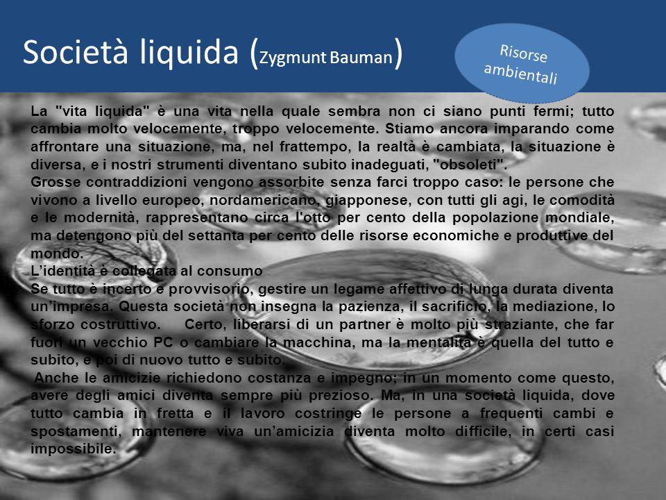 La vita liquida è una vita nella quale sembra non ci siano punti fermi; tutto cambia molto velocemente, troppo velocemente.