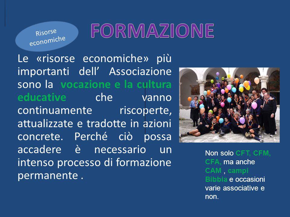 Le «risorse economiche» più importanti dell' Associazione sono la vocazione e la cultura educative che vanno continuamente riscoperte, attualizzate e tradotte in azioni concrete.