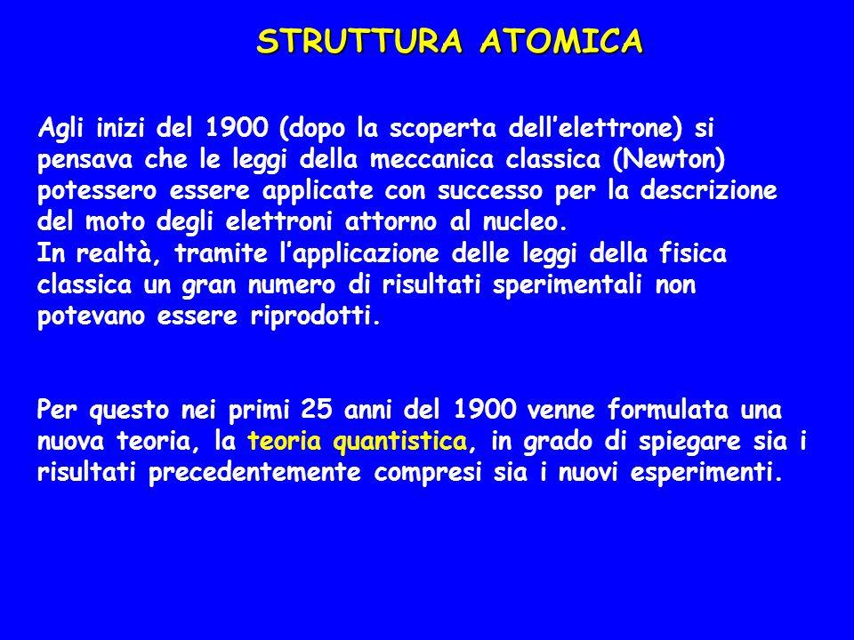 STRUTTURA ATOMICA Tra i cambiamenti che portarono allo sviluppo di questa nuova teoria fu la scoperta che le particelle possiedono proprietà simili a quelle di un'onda e in questo senso la struttura elettronica degli atomi è strettamente legata alla natura delle onde elettromagnetiche (radiazioni) Per poter descrivere la struttura elettronica degli atomi è quindi prima necessario considerare la natura delle radiazioni elettromagnetiche (o radiazioni)