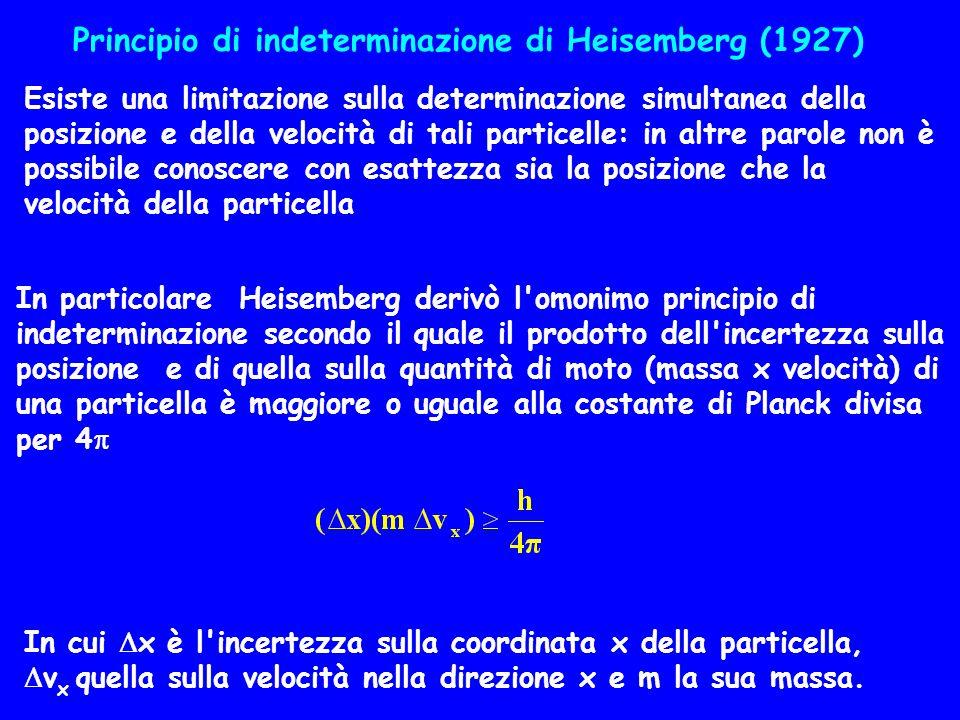 Esiste una limitazione sulla determinazione simultanea della posizione e della velocità di tali particelle: in altre parole non è possibile conoscere
