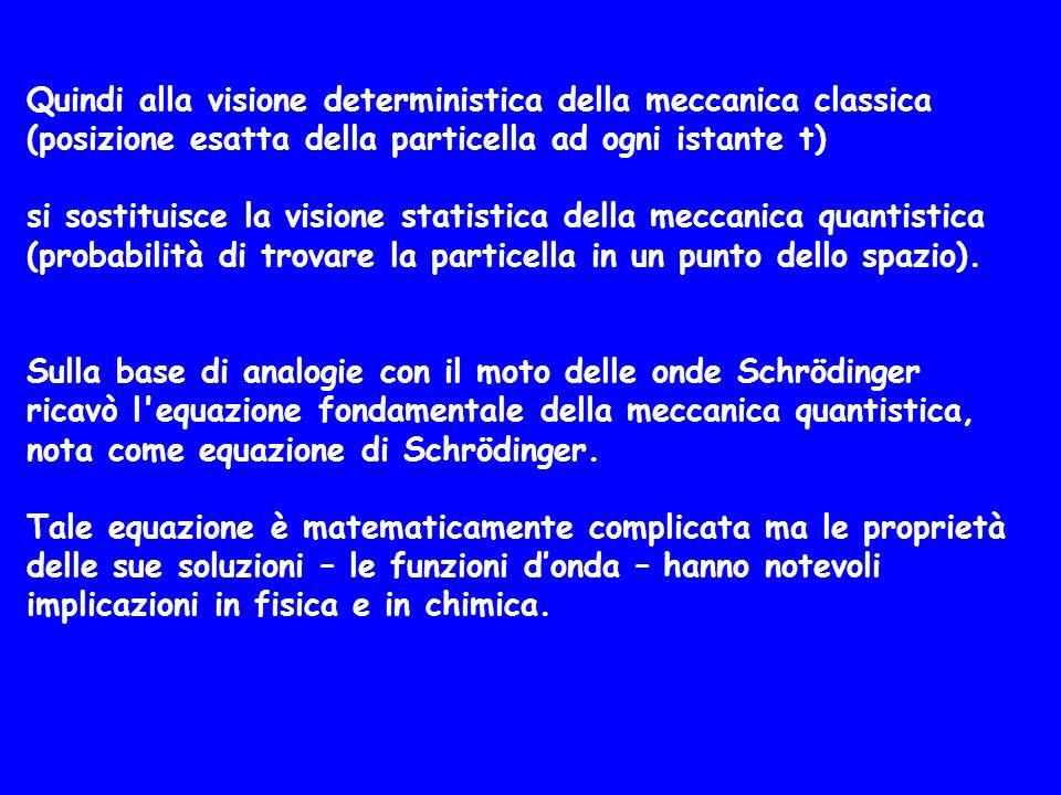 Quindi alla visione deterministica della meccanica classica (posizione esatta della particella ad ogni istante t) si sostituisce la visione statistica