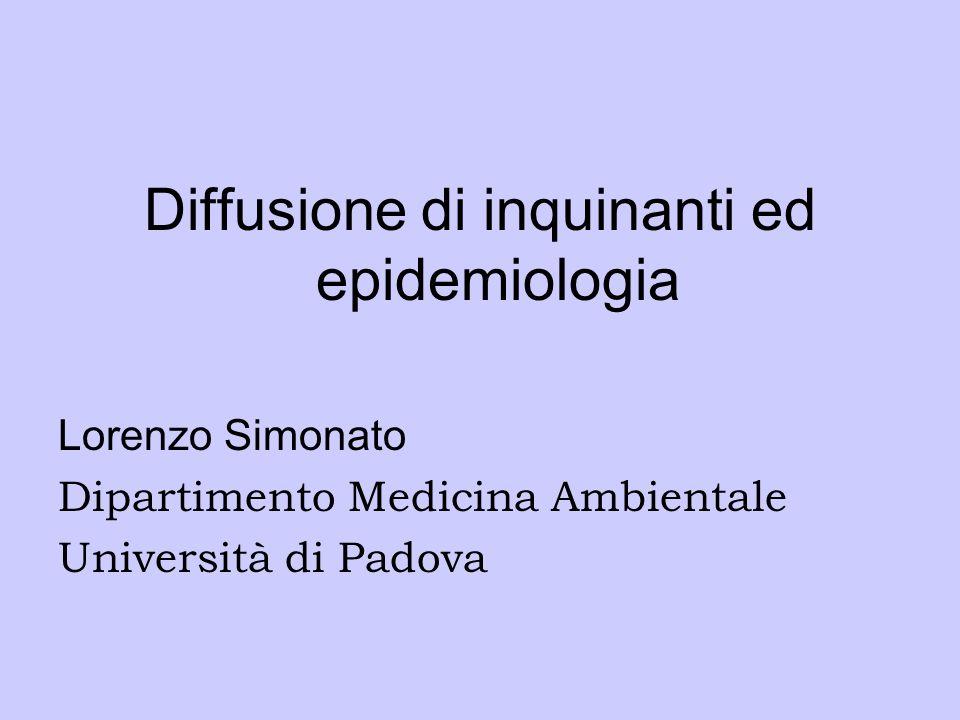 Diffusione di inquinanti ed epidemiologia Lorenzo Simonato Dipartimento Medicina Ambientale Università di Padova