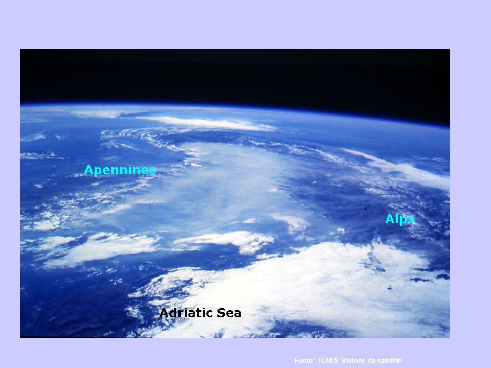 Alps Apennines Adriatic Sea Fonte: TEMIS, Visione da satellite