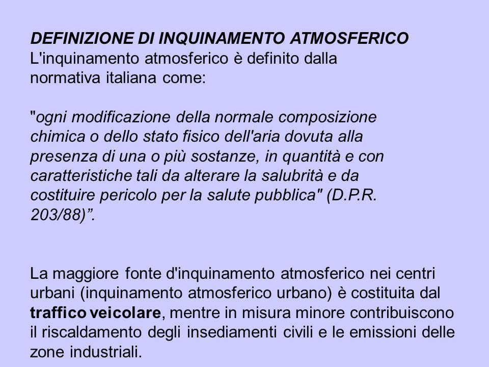 DEFINIZIONE DI INQUINAMENTO ATMOSFERICO L'inquinamento atmosferico è definito dalla normativa italiana come:
