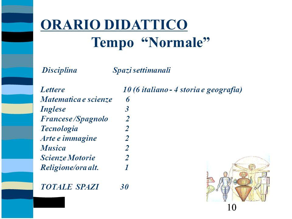 """10 ORARIO DIDATTICO Tempo """"Normale"""" Disciplina Spazi settimanali Lettere 10 (6 italiano - 4 storia e geografia) Matematica e scienze 6 Inglese 3 Franc"""