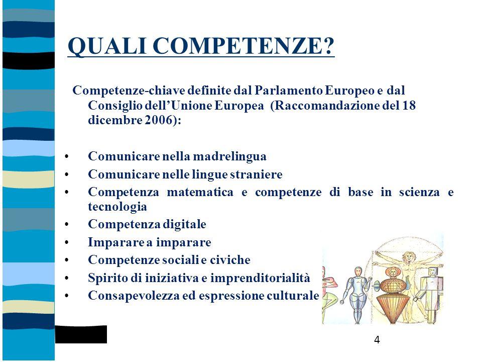 QUALI COMPETENZE? Competenze-chiave definite dal Parlamento Europeo e dal Consiglio dell'Unione Europea (Raccomandazione del 18 dicembre 2006): Comuni