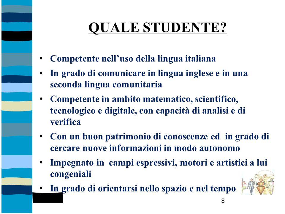 QUALE STUDENTE? Competente nell'uso della lingua italiana In grado di comunicare in lingua inglese e in una seconda lingua comunitaria Competente in a