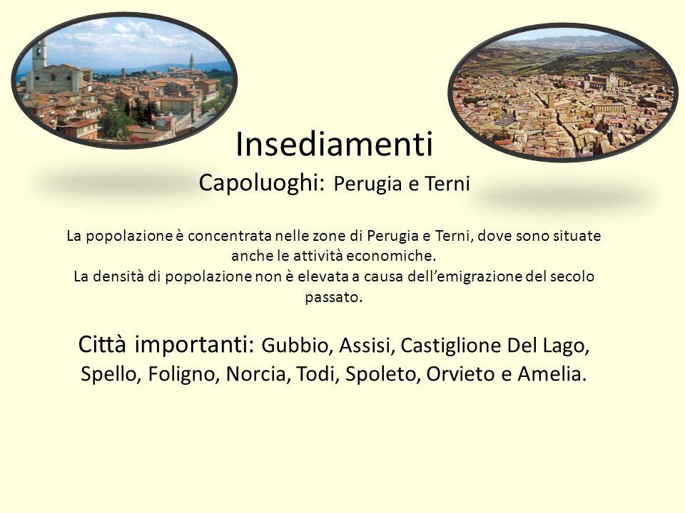 Insediamenti Capoluoghi: Perugia e Terni La popolazione è concentrata nelle zone di Perugia e Terni, dove sono situate anche le attività economiche. L