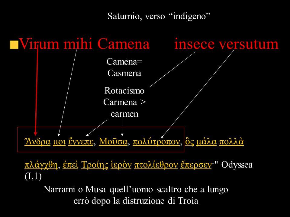 "Virum mihi Camena insece versutum Saturnio, verso ""indigeno"" Ἄ νδραἌ νδρα μοι ἔ ννεπε, Μο ῦ σα, πολ ύ τροπον, ὃ ς μ ά λα πολλ ὰ πλ ά γχθη, ἐ πε ὶ Τρο"