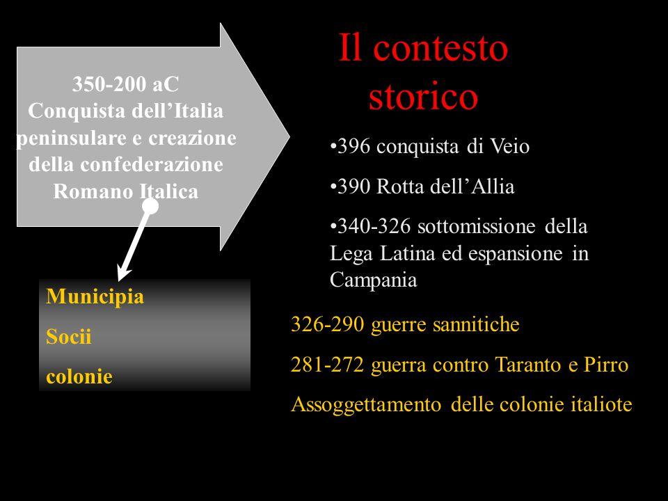 Il contesto storico 350-200 aC Conquista dell'Italia peninsulare e creazione della confederazione Romano Italica 396 conquista di Veio 390 Rotta dell'
