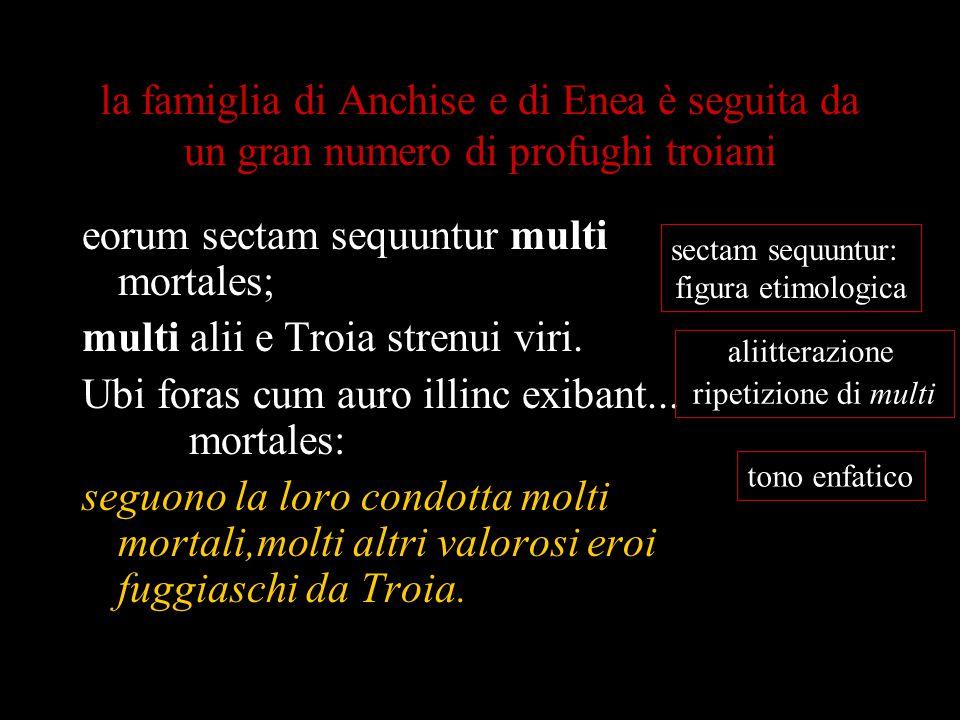 la famiglia di Anchise e di Enea è seguita da un gran numero di profughi troiani eorum sectam sequuntur multi mortales; multi alii e Troia strenui vir