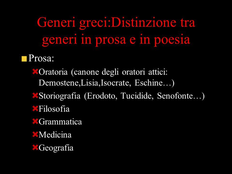 Generi greci:Distinzione tra generi in prosa e in poesia Prosa:  Oratoria (canone degli oratori attici: Demostene,Lisia,Isocrate, Eschine…)  Storiog
