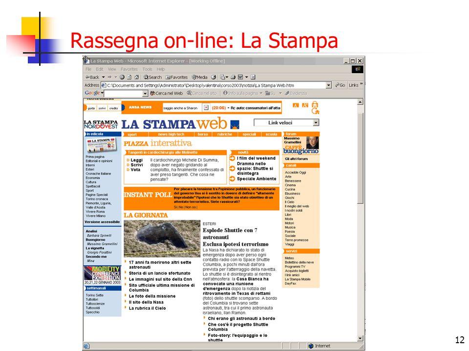 12 Rassegna on-line: La Stampa