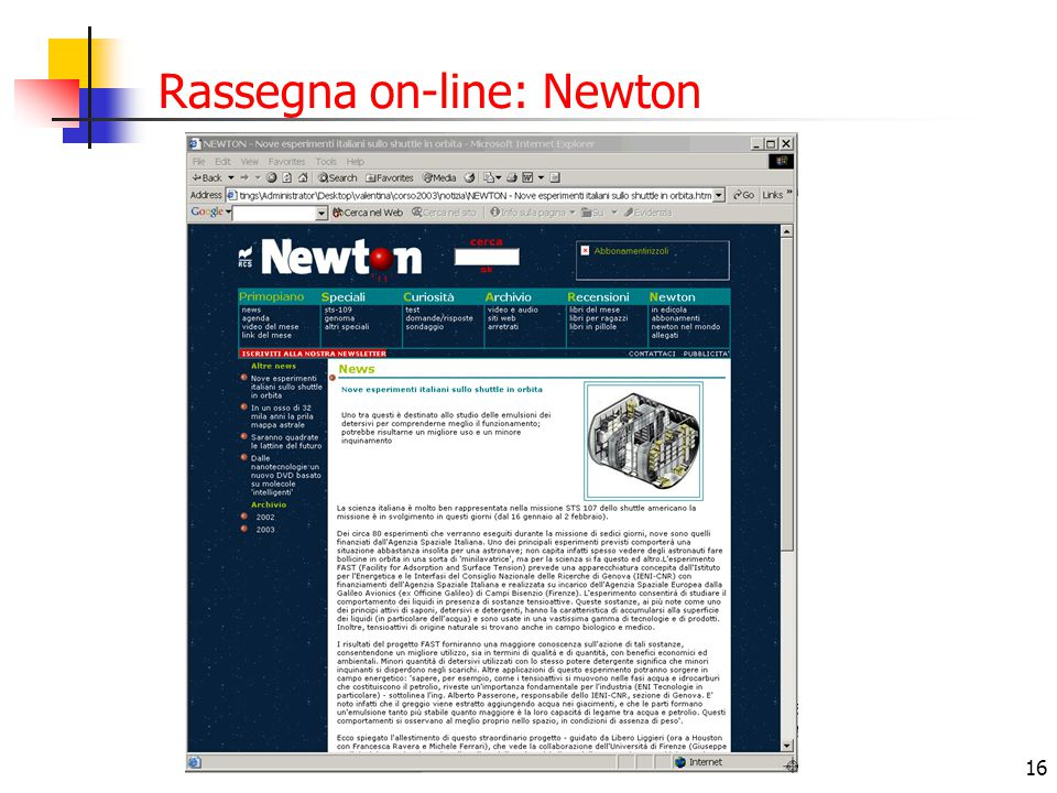 16 Rassegna on-line: Newton