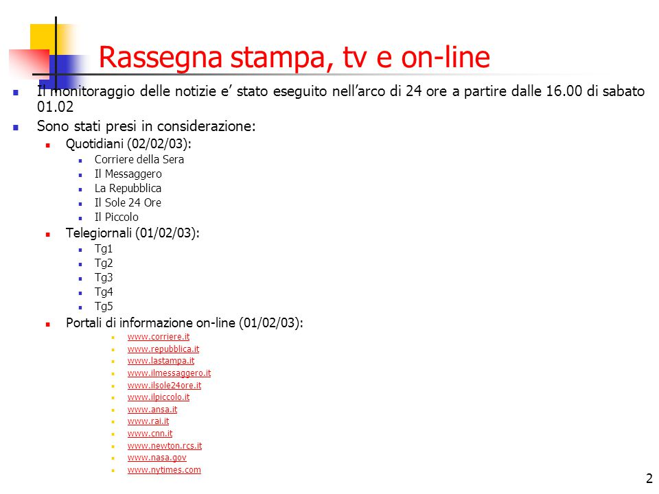 13 Rassegna on-line: Il Sole 24 Ore