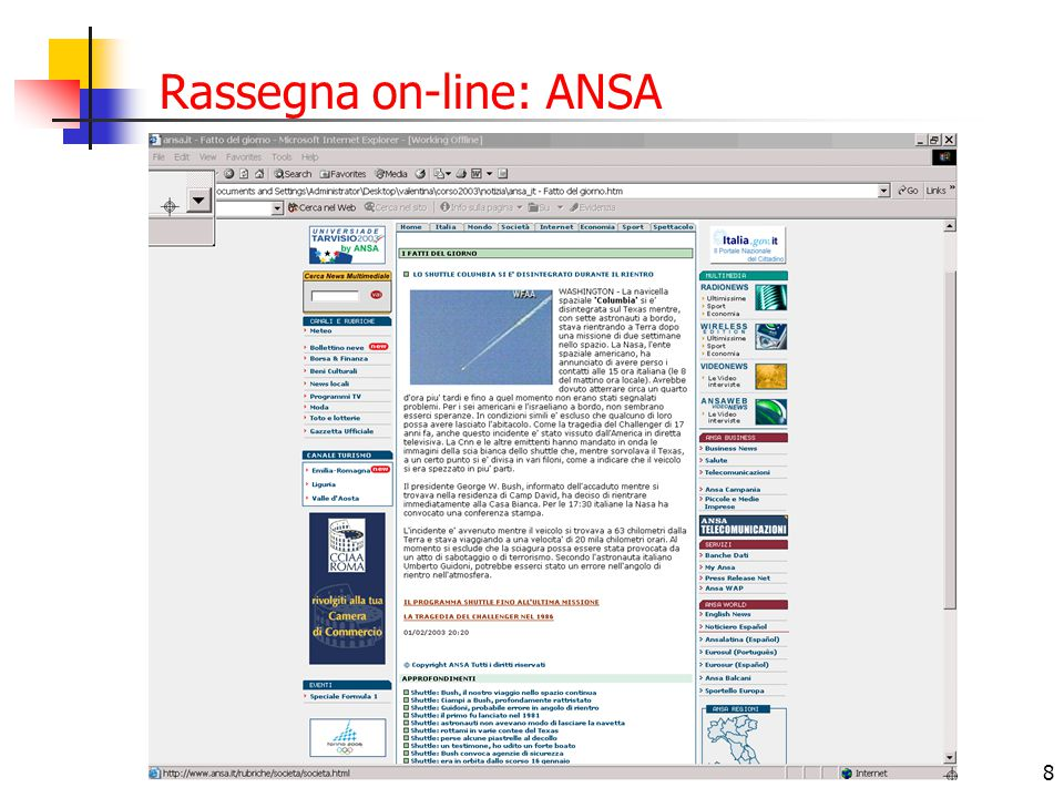 8 Rassegna on-line: ANSA