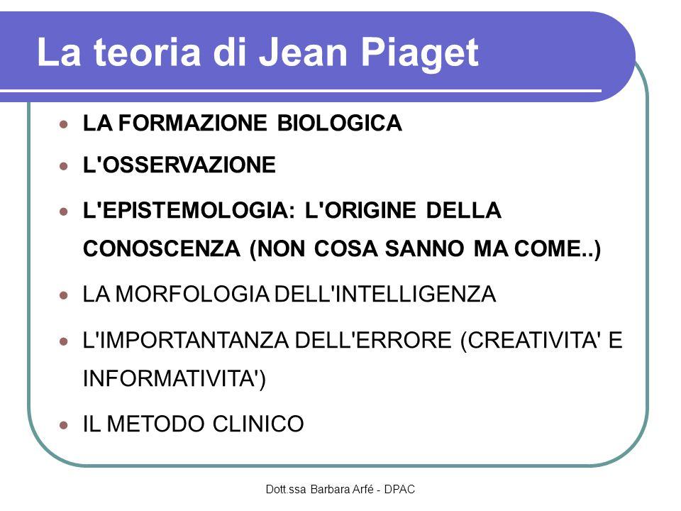 La teoria di Jean Piaget  LA FORMAZIONE BIOLOGICA  L OSSERVAZIONE  L EPISTEMOLOGIA: L ORIGINE DELLA CONOSCENZA (NON COSA SANNO MA COME..)  LA MORFOLOGIA DELL INTELLIGENZA  L IMPORTANTANZA DELL ERRORE (CREATIVITA E INFORMATIVITA )  IL METODO CLINICO Dott.ssa Barbara Arfé - DPAC