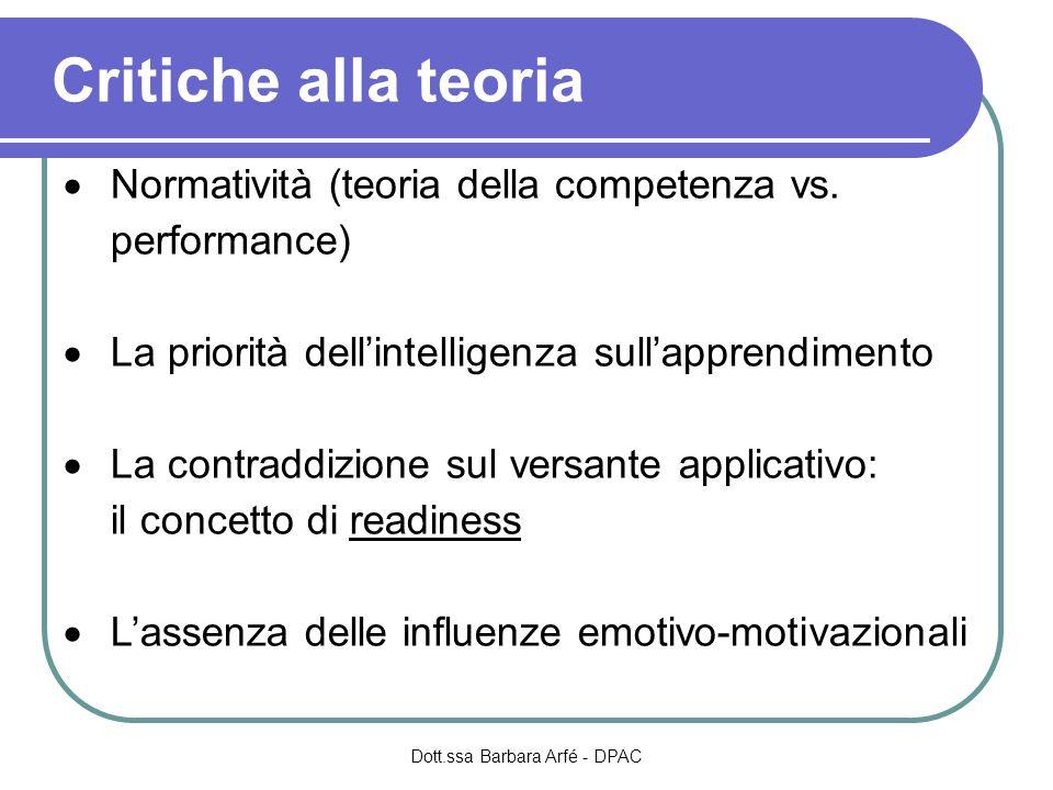 Critiche alla teoria  Normatività (teoria della competenza vs.