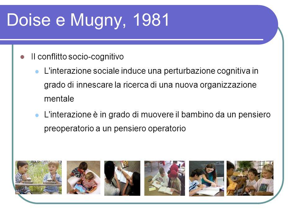Doise e Mugny, 1981 Il conflitto socio-cognitivo L interazione sociale induce una perturbazione cognitiva in grado di innescare la ricerca di una nuova organizzazione mentale L interazione è in grado di muovere il bambino da un pensiero preoperatorio a un pensiero operatorio