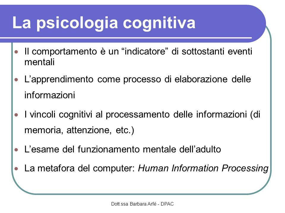 La psicologia cognitiva  Il comportamento è un indicatore di sottostanti eventi mentali  L'apprendimento come processo di elaborazione delle informazioni  I vincoli cognitivi al processamento delle informazioni (di memoria, attenzione, etc.)  L'esame del funzionamento mentale dell'adulto  La metafora del computer: Human Information Processing Dott.ssa Barbara Arfé - DPAC