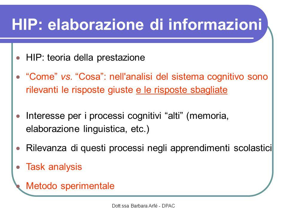 HIP: elaborazione di informazioni  HIP: teoria della prestazione  Come vs.