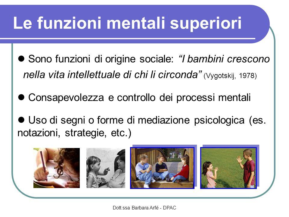 Le funzioni mentali superiori Sono funzioni di origine sociale: I bambini crescono nella vita intellettuale di chi li circonda (Vygotskij, 1978) Consapevolezza e controllo dei processi mentali Uso di segni o forme di mediazione psicologica (es.