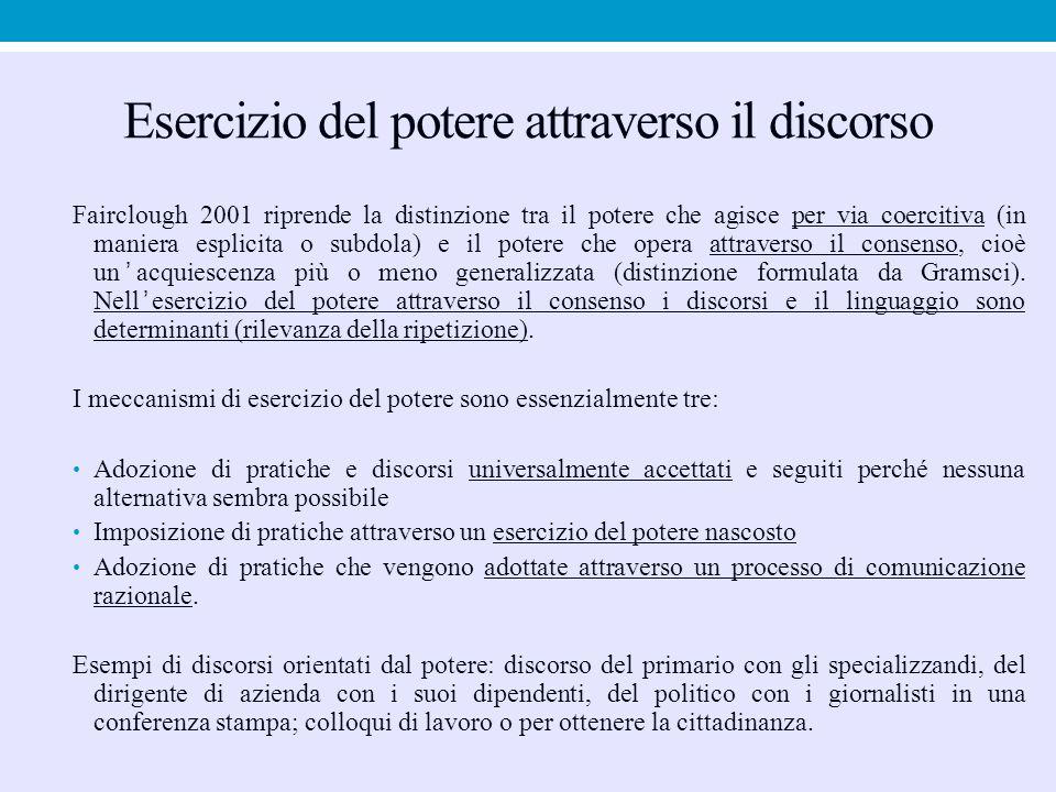 Esercizio del potere attraverso il discorso Fairclough 2001 riprende la distinzione tra il potere che agisce per via coercitiva (in maniera esplicita