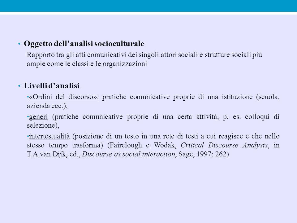 Oggetto dell'analisi socioculturale Rapporto tra gli atti comunicativi dei singoli attori sociali e strutture sociali più ampie come le classi e le or