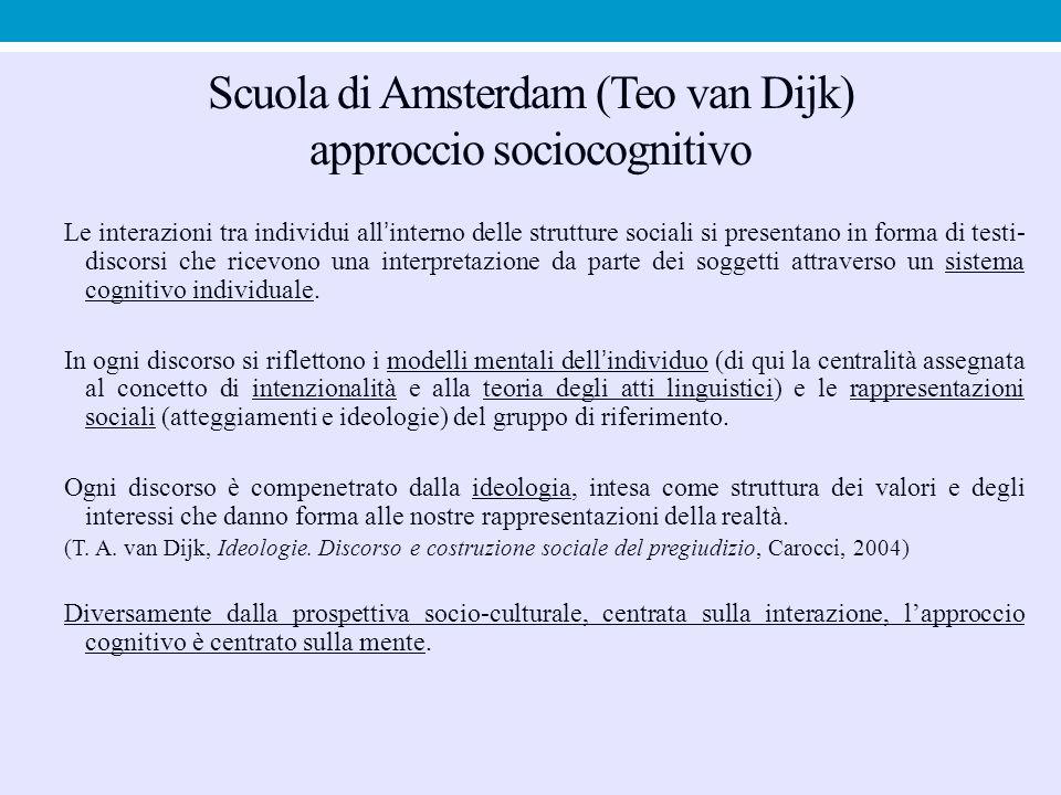 Scuola di Amsterdam (Teo van Dijk) approccio sociocognitivo Le interazioni tra individui all'interno delle strutture sociali si presentano in forma di