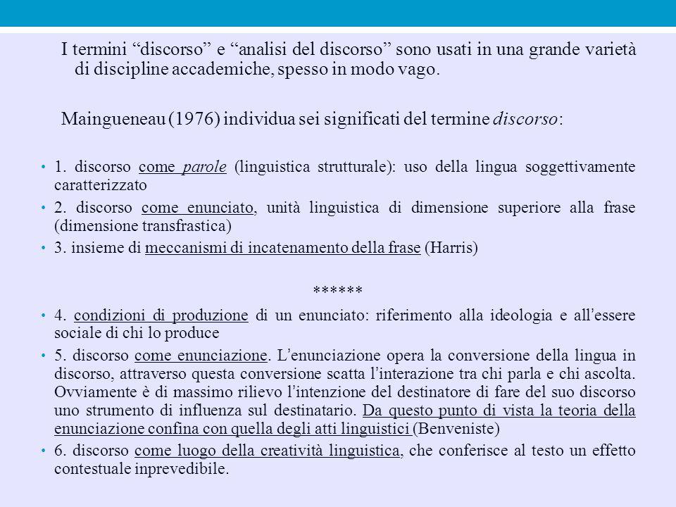 Definizione di «discorso» in Wodak e Reisigl «fascio complesso di atti linguistici simultanei e sequenziali interrelati, che si manifestano all'interno e attraverso i campi d'azione sociali sotto forma di occorrenze semiotiche, scritte e orali, interrelate, molto spesso sotto forma di testi, che appartengono a tipi semiotici specifici, ad esempio i generi» (Retorica del razzismo e dell'antisemitismo, in Giannini-Scaglione [a cura di], Introduzione alla sociolinguistica, Carocci, 2003:268).