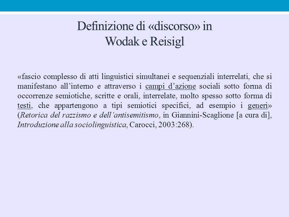 Definizione di «discorso» in Wodak e Reisigl «fascio complesso di atti linguistici simultanei e sequenziali interrelati, che si manifestano all'intern