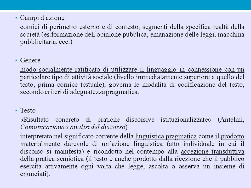 Campi d'azione cornici di perimetro esterno e di contesto, segmenti della specifica realtà della società (es.formazione dell'opinione pubblica, emanaz