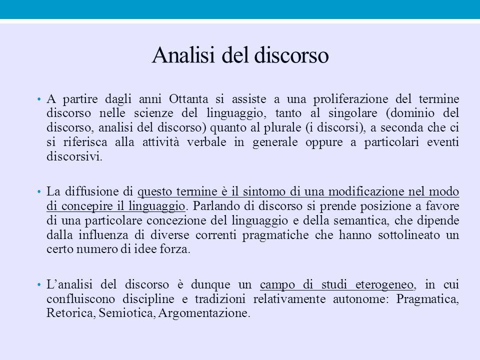 Analisi del discorso A partire dagli anni Ottanta si assiste a una proliferazione del termine discorso nelle scienze del linguaggio, tanto al singolar