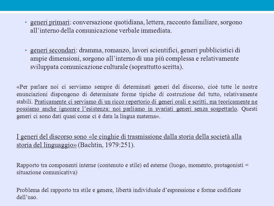 generi primari: conversazione quotidiana, lettera, racconto familiare, sorgono all'interno della comunicazione verbale immediata. generi secondari: dr