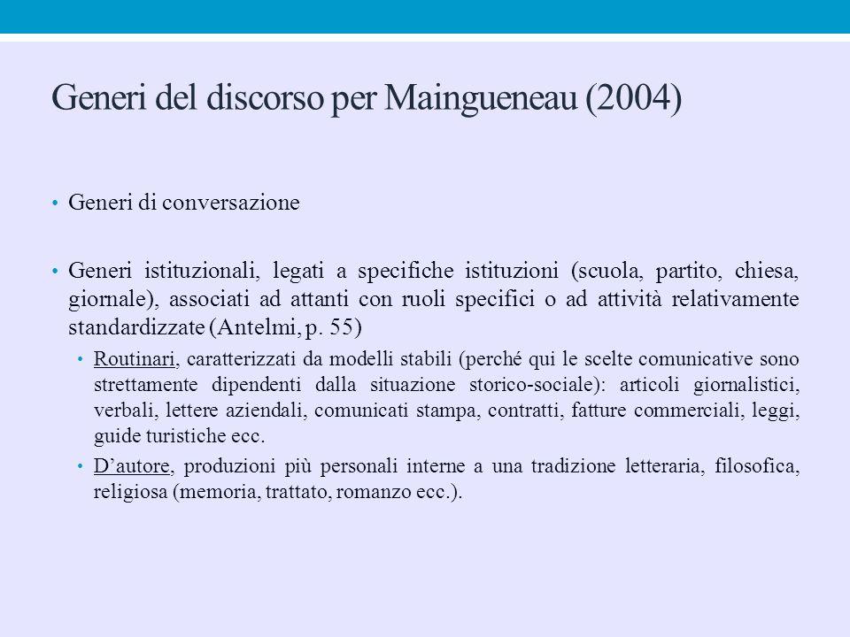 Generi del discorso per Maingueneau (2004) Generi di conversazione Generi istituzionali, legati a specifiche istituzioni (scuola, partito, chiesa, gio