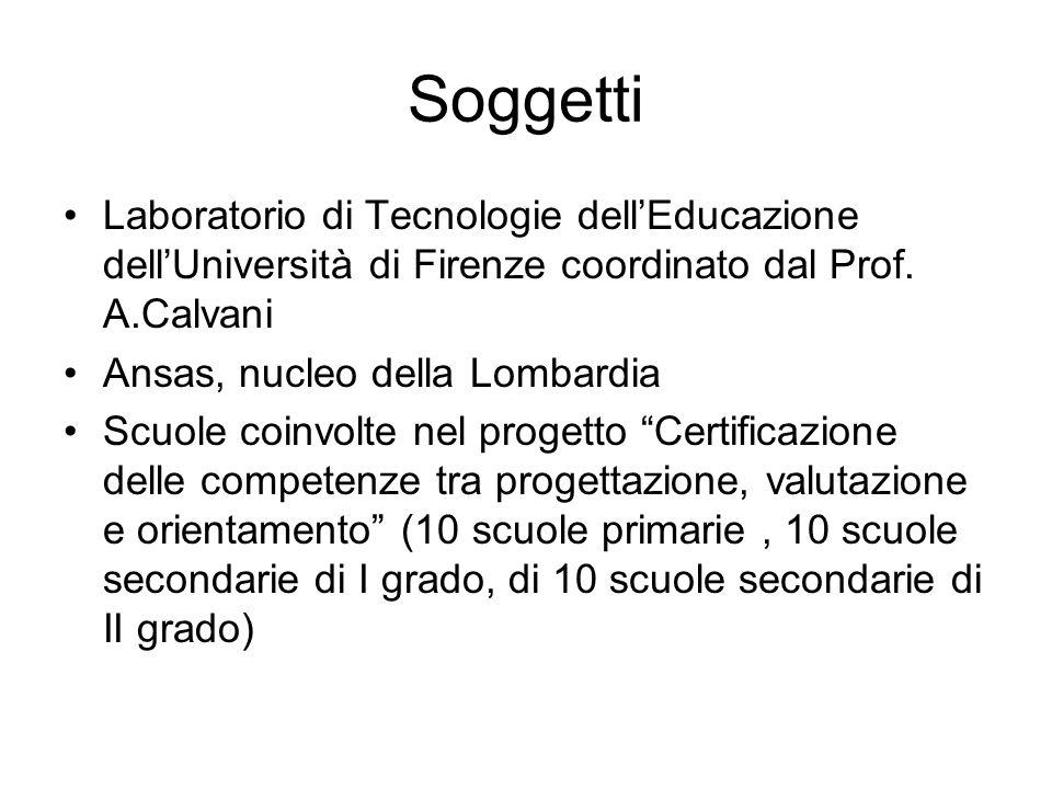 Soggetti Laboratorio di Tecnologie dell'Educazione dell'Università di Firenze coordinato dal Prof.