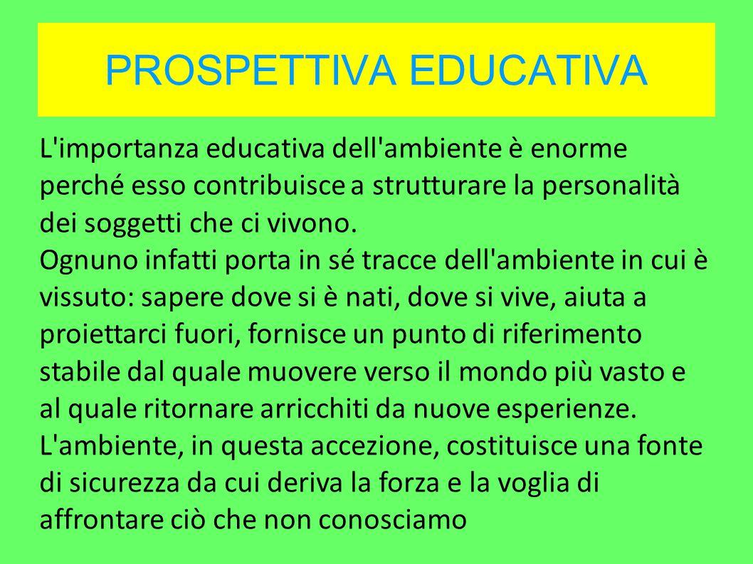 PROSPETTIVA EDUCATIVA L importanza educativa dell ambiente è enorme perché esso contribuisce a strutturare la personalità dei soggetti che ci vivono.