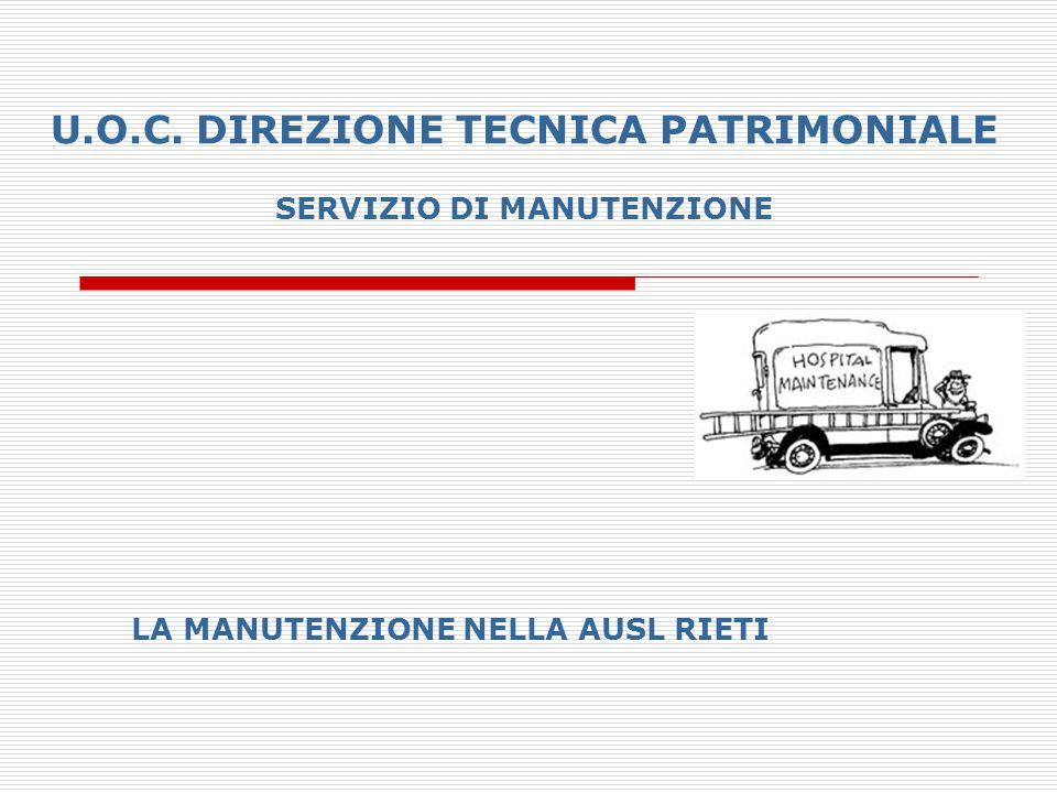 U.O.C. DIREZIONE TECNICA PATRIMONIALE SERVIZIO DI MANUTENZIONE LA MANUTENZIONE NELLA AUSL RIETI