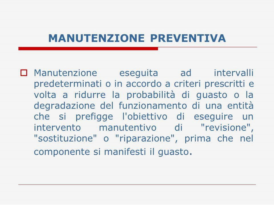 MANUTENZIONE PREVENTIVA  Manutenzione eseguita ad intervalli predeterminati o in accordo a criteri prescritti e volta a ridurre la probabilità di gua