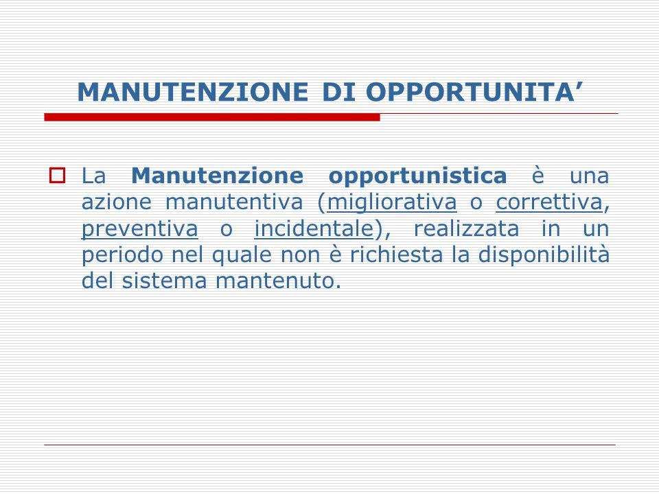 MANUTENZIONE DI OPPORTUNITA'  La Manutenzione opportunistica è una azione manutentiva (migliorativa o correttiva, preventiva o incidentale), realizza