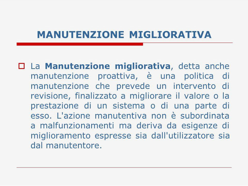 MANUTENZIONE MIGLIORATIVA  La Manutenzione migliorativa, detta anche manutenzione proattiva, è una politica di manutenzione che prevede un intervento