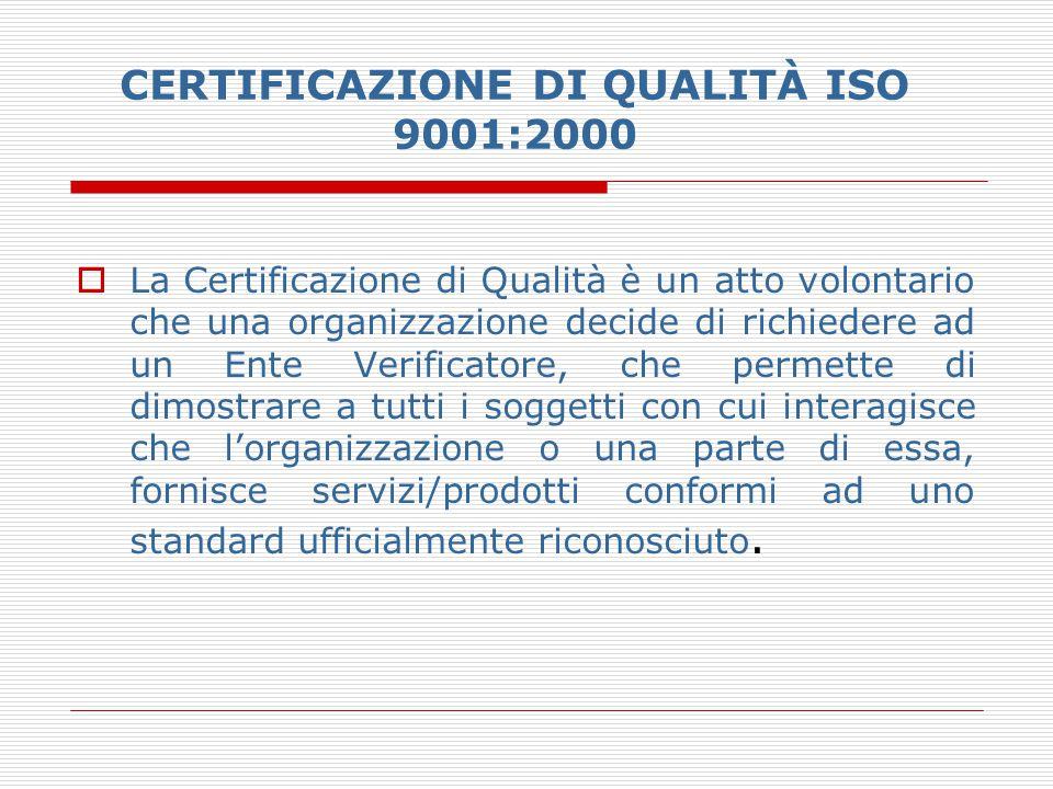CERTIFICAZIONE DI QUALITÀ ISO 9001:2000  La Certificazione di Qualità è un atto volontario che una organizzazione decide di richiedere ad un Ente Ver