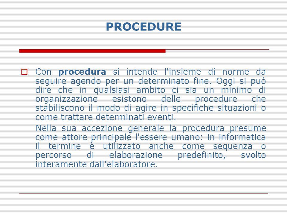 PROCEDURE  Con procedura si intende l'insieme di norme da seguire agendo per un determinato fine. Oggi si può dire che in qualsiasi ambito ci sia un