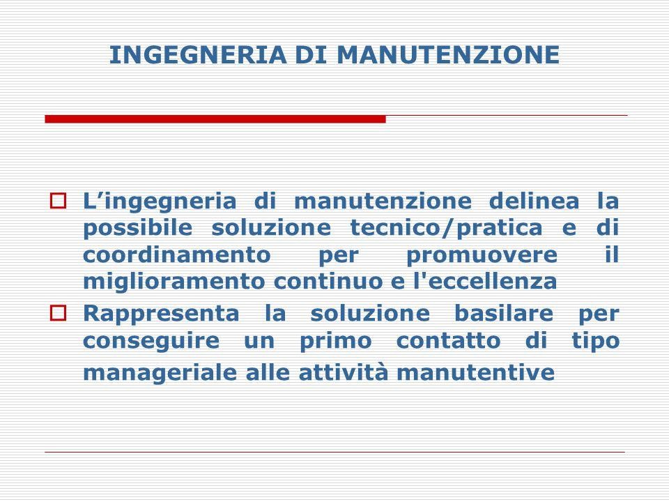 INGEGNERIA DI MANUTENZIONE  L'ingegneria di manutenzione delinea la possibile soluzione tecnico/pratica e di coordinamento per promuovere il migliora