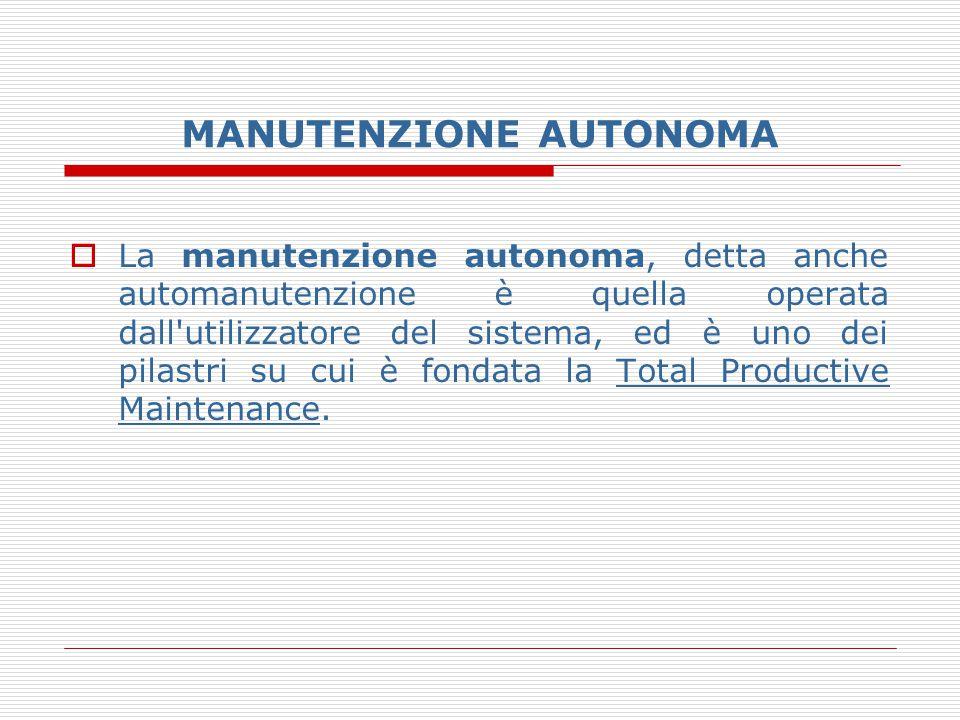 MANUTENZIONE AUTONOMA  La manutenzione autonoma, detta anche automanutenzione è quella operata dall'utilizzatore del sistema, ed è uno dei pilastri s