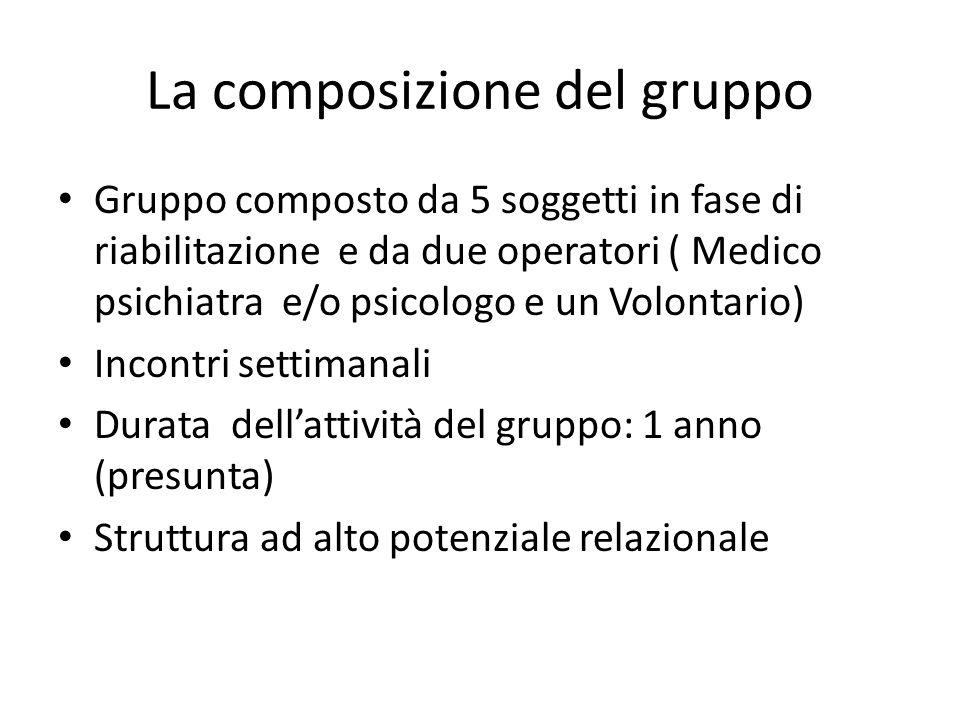 La composizione del gruppo Gruppo composto da 5 soggetti in fase di riabilitazione e da due operatori ( Medico psichiatra e/o psicologo e un Volontario) Incontri settimanali Durata dell'attività del gruppo: 1 anno (presunta) Struttura ad alto potenziale relazionale