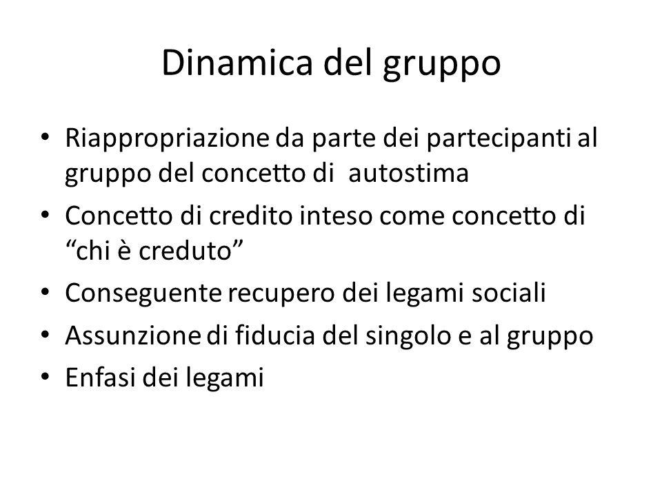 """Dinamica del gruppo Riappropriazione da parte dei partecipanti al gruppo del concetto di autostima Concetto di credito inteso come concetto di """"chi è"""