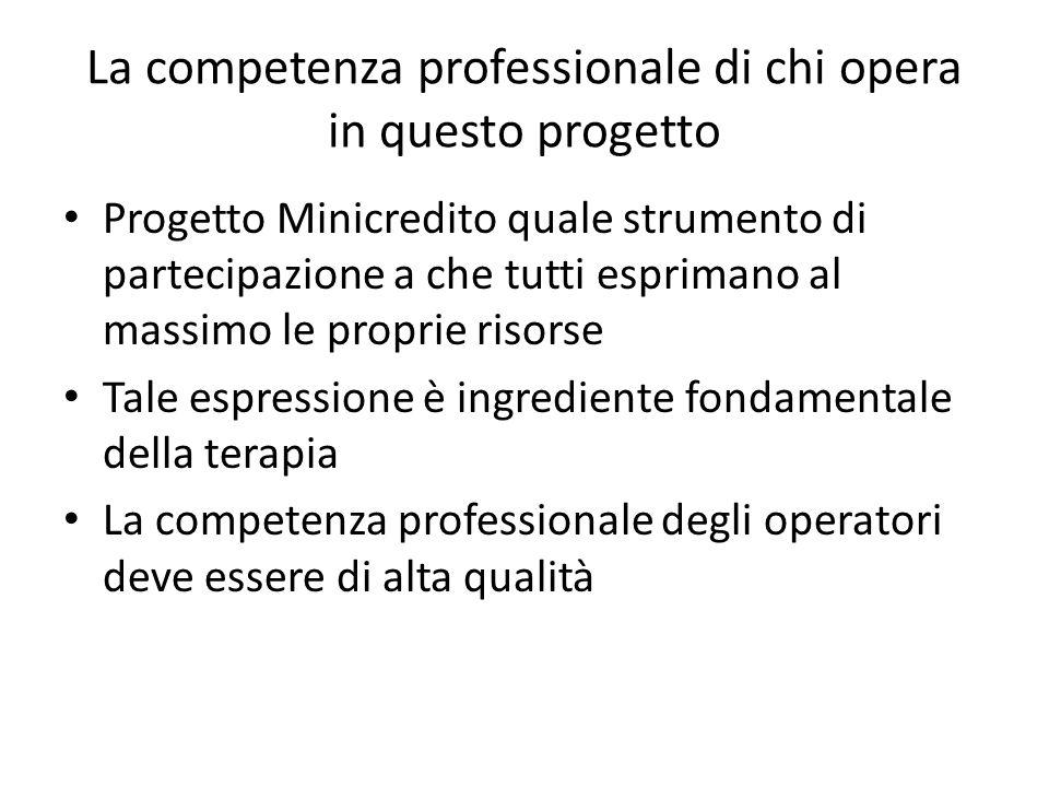 La competenza professionale di chi opera in questo progetto Progetto Minicredito quale strumento di partecipazione a che tutti esprimano al massimo le