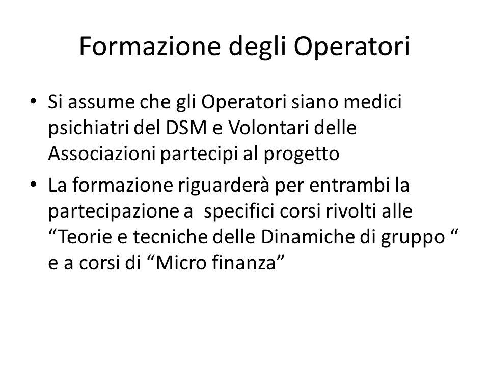 Formazione degli Operatori Si assume che gli Operatori siano medici psichiatri del DSM e Volontari delle Associazioni partecipi al progetto La formazi