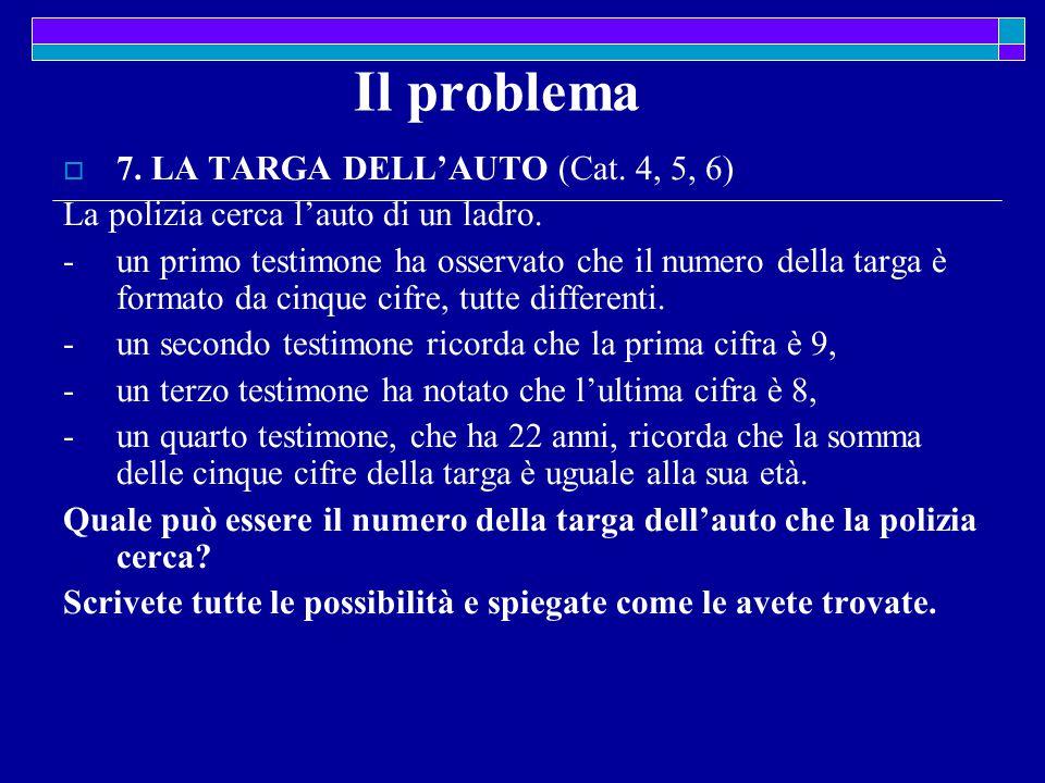 Il problema  7. LA TARGA DELL'AUTO (Cat. 4, 5, 6) La polizia cerca l'auto di un ladro.